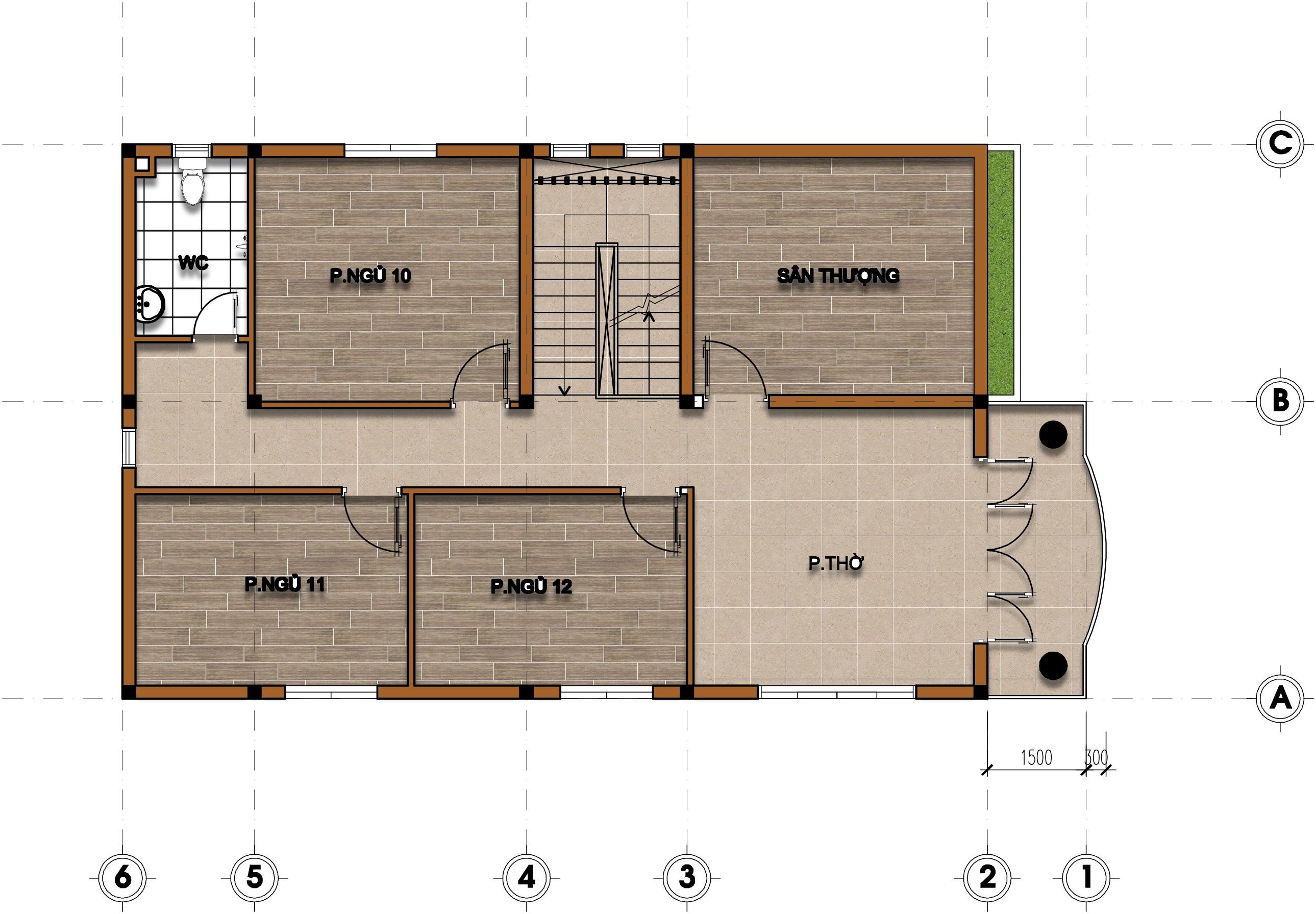 hình ảnh mặt bằng lầu 3 (ảnh : kimtrongphat.com)