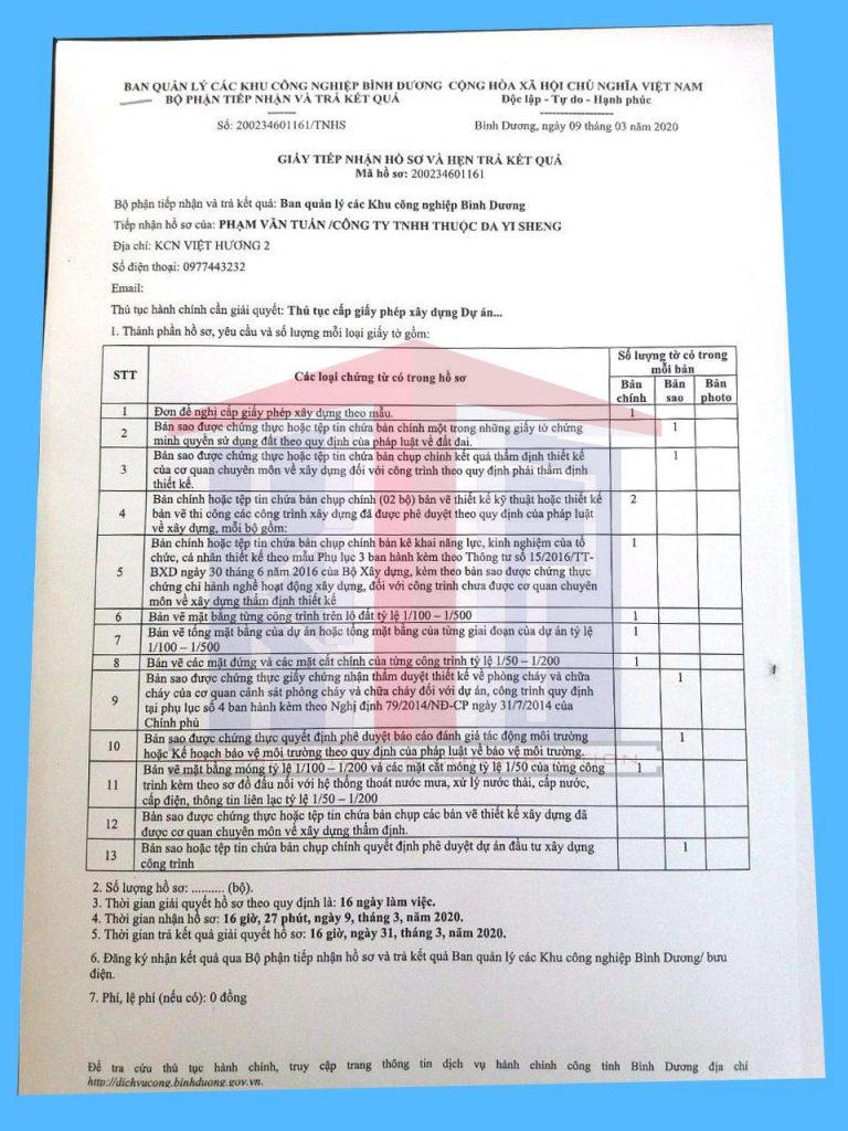 nộp hồ sơ xin phép xây dựng nhà xưởng